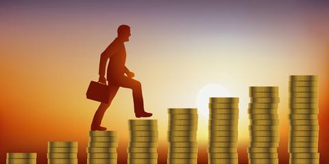 Concept de l'appât du gain avec l'ascension d'un homme d'affaires qui monte un escalier fait de pièces de monnaie, symbolisant le fait de gagner de l'argent.