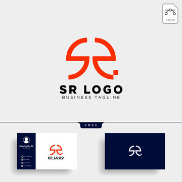 SR letter initial business logo template vector illustration icon element isolated