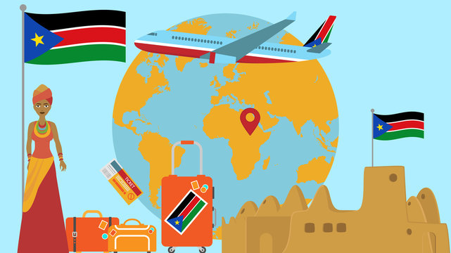 Welcome to South Sudan postcard. Travel and safari concept of Africa world map vector illustration with national flag welcome background