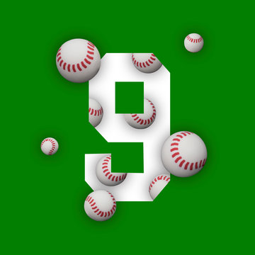 9 number nine, graphic white digit and creative typography with white balls on green background. Baseball balls. Baseball World Cup.