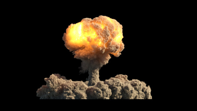 Nuclear explosion on black background