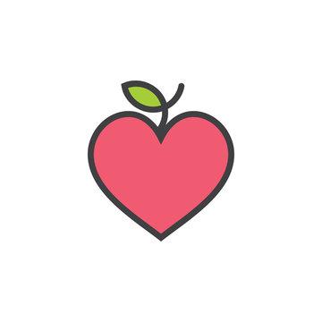 love apple outline fruit label cute symbol logo vector