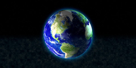 The blue planet earth with beautiful outer glow and lens flare ring in dark background. Elements of this image furnished by NASA.