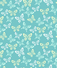 Seamless pattern of decorative butterflies on a turquoise background.