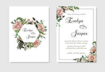 Set for wedding invitation, greeting card, save date, banner. Flowers, leafs, boxwood, brunia and eucalyptus, pink rose. Decorative square frame. Vector template