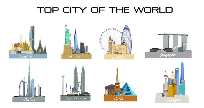 Top cities in the world such as Bangkok, New York, Paris, Kuala Lumpur, Shanghai, London, Dubai