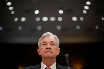 U.S. Federal Reserve Board Chairman Jerome Powell waits to testify on Capitol Hill in Washington
