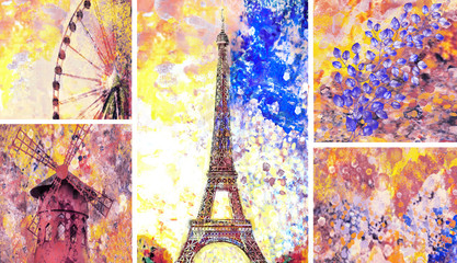 Designer oil painting. Decoration for the interior. Modern abstract art on canvas. Set of pictures with different textures and colors. Paris, Eiffel tower.