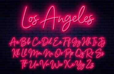 Fototapeta Glowing neon script alphabet. Neon font with uppercase and lowercase letters. Handwritten english alphabet obraz