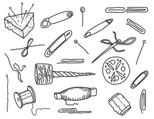Sewing kit. Doodle style Vector set