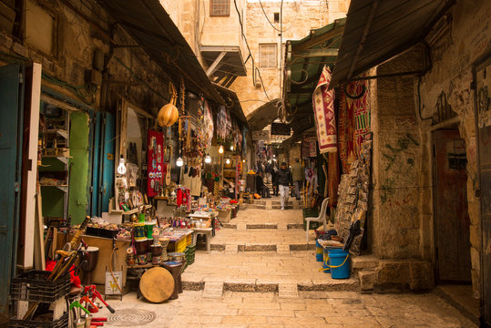 The Arabic suq in the historic old city of Jerusalem, Israel., Middle East