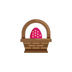 Easter basket with egg flat icon, vector sign, colorful pictogram isolated on white. Easter egg basket symbol, logo illustration. Flat style design