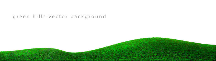 Vector green hills background realistic landscape