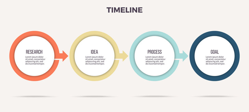 Business infographics. Timeline with 4 steps, options, circles. Vector template.