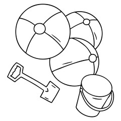 line drawing doodle beach balls with a bucket and spade