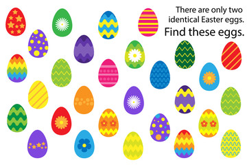 Find 2 identical decoration easter egg, fun education puzzle game for children, preschool worksheet activity for kids, task for the development of logical thinking and mind, vector illustration