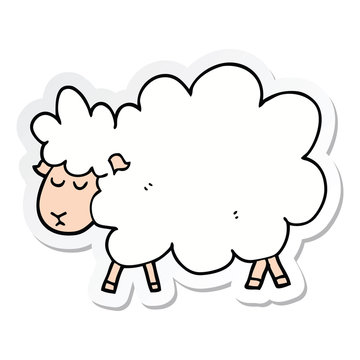 sticker of a cartoon sheep