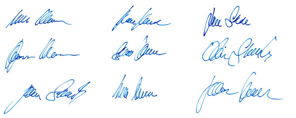 Handwritten signatures concept of signed document with ink pen isolated on white background of matt photographic paper
