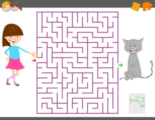 maze game with cartoon girl and her cat