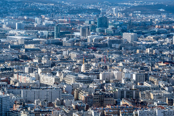 Paris in winter general view of 15th arrondissement from above