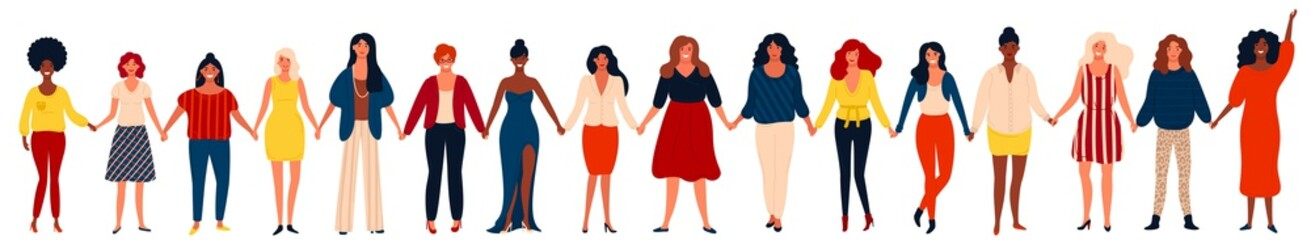 Diverse international group of happy women or girls standing together and holding hands.
