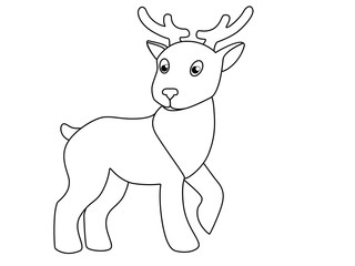 Little cute toy deer. Picture with a deer for coloring. The picture for the children's book is a deer.