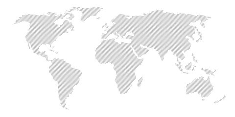 Illustration and pictogram of gray hatched map of the world. Wall mural