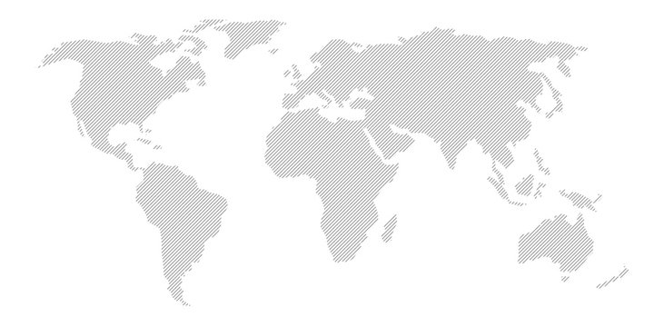 Illustration and pictogram of gray hatched map of the world.