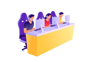 Cybersport. Men and woman playing game, looking at screen and sitting in chairs. Flat concept vector illustration, isolated on white.