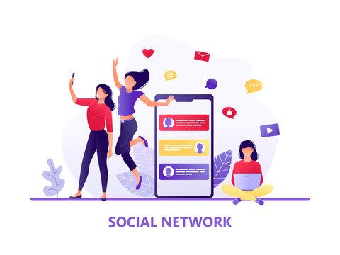 Social media, networks. Women taking selfie together, girl sitting with laptop. Chat, forum. Flat concept vector illustration for web, landing page, banner, flyer.