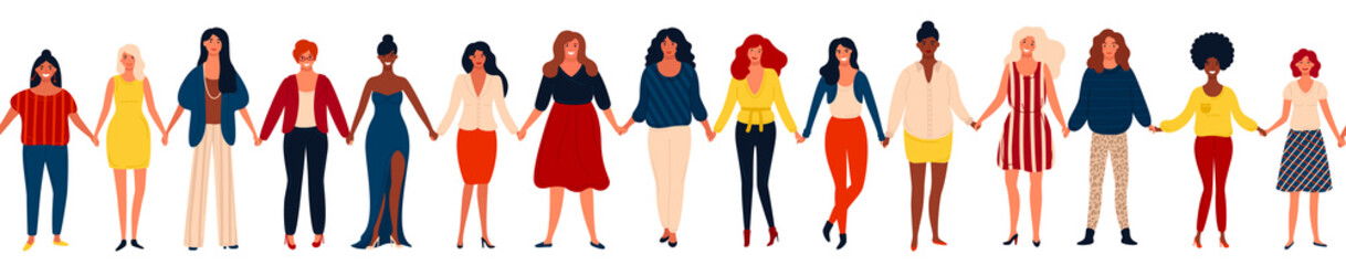 Modern seamless border with international group of happy women or girls standing together and holding hands.