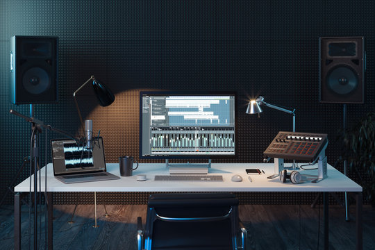 Studio Computer Music Station. Professional audio mixing console. 3d rendering.