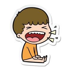 sticker of a cartoon laughing man