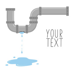 Leaking pipe with flowing water vector illustration. There is space for text