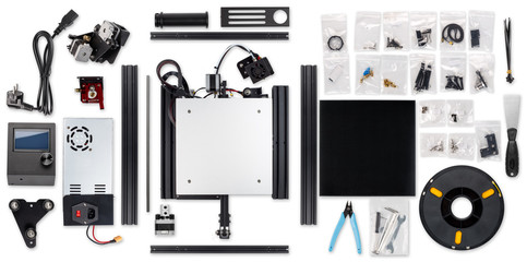3D printer printing self building DIY kit all parts isolated on white background