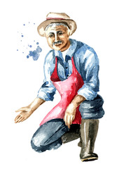 Senior farmer sits on one knee and points his hand at your products. Watercolor hand drawn illustration, isolated on white background