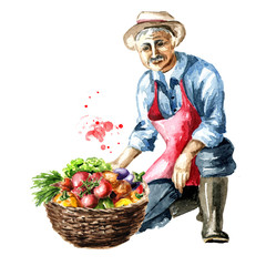 Senior farmer sits on one knee with basket full of fresh vegetables. Watercolor hand drawn illustration, isolated on white background
