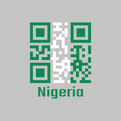 QR code set the color of Nigeria flag. A vertical bicolor triband of green, white and green.