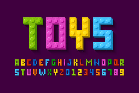 Plastic construction blocks font, alphabet letters and numbers