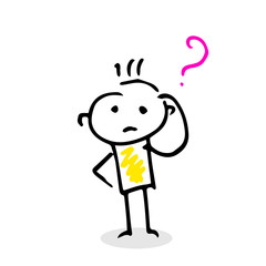 Thinking vector stick figure with question sign.