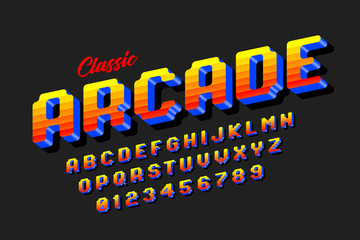 Retro style arcade games font, 80s video game alphabet letters and numbers
