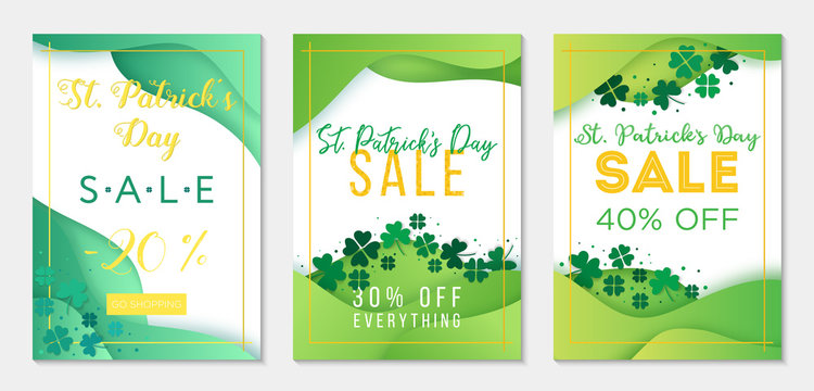 Collection of three sale banner templates to St Patricks Day. Paper cut style, green backgrounds