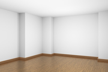 White empty room with brown wooden parquet floor