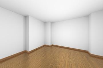 Empty white room with brown hardwood parquet floor.