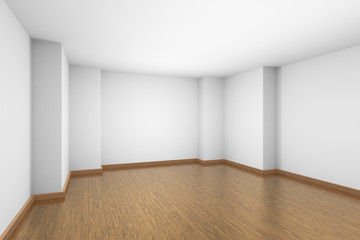 Empty white room with brown wood parquet floor.