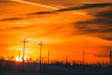 beautiful fiery sunset on a frosty winter evening