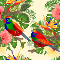 Foto op Canvas Papegaai Seamless texture tropical birds Euplectes and tropical flowers pink and yellow hibiscus and Strelitzia palm,philodendron and ficus vintage vector illustration editable hand draw