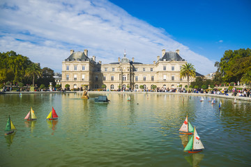 PARIS, FRANCE - 02 OCTOBER 2018: The palace in Luxemburg gardens