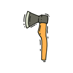 Hand drawn vector icon of axe. Camping equipment. Tool for chopping wood. Outdoor camp, tourism
