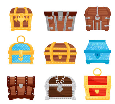 Flat vector set of different treasure chests. Wooden and metal storage boxes with locks. Game assets